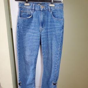 Maje frayed hem ribbon high rise jeans 34 XS